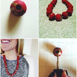 DIY Gold and Berry Red Anthropologie-Inspired Necklace // thoughtsbynatalie.com