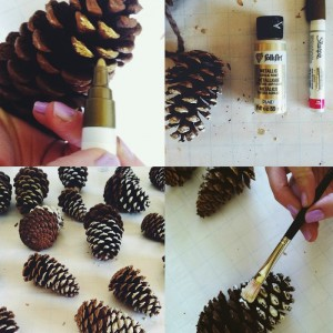painting on pinecones