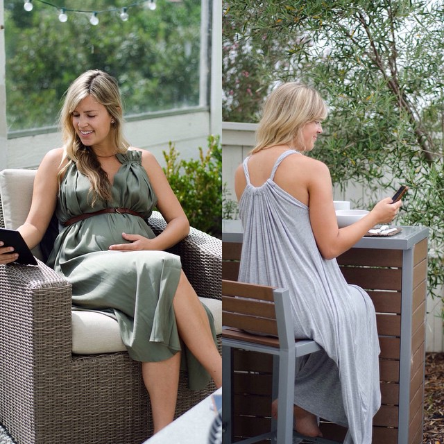 Now selling both of these HATCH Collection maternity dresses for under $100 on @tradesy ? Shop them at bit.ly/nb-tradesy (Photos by @joyfulsteps)